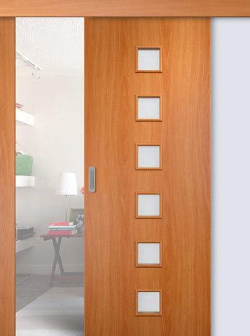 Дверь раздвижная Сибирь Профиль Квадрат (С-9), цвет миланский орех, остекленная