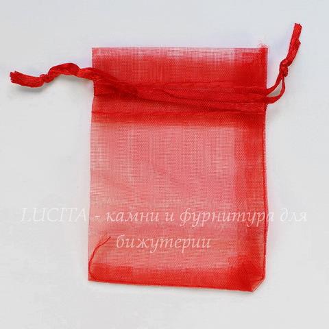 Подарочный мешочек из органзы, цвет - красный, 9х7 см
