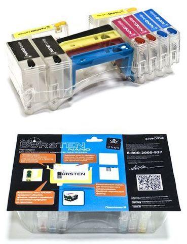Нано-картриджи Bursten Nano3 для Epson SX525WD, SX535WD, SX620FW, B42WD, BX305F, BX625FWD, WorkForce WF-7015, WF-7515, WF-7525 (T1301- T1304). 4 чиповых рамки + 8 контейнеров для чернил - бесшлейфовая СНПЧ версия SUNGLE!