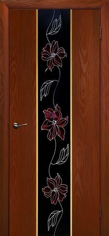 Дверь Дубрава Сибирь Гранд-Маки, стекло с рисунком/молдинг золото, цвет итальянский орех, остекленная
