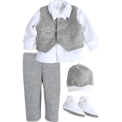 Комплект святковий для хлопчика Newborn Prince белый с серым