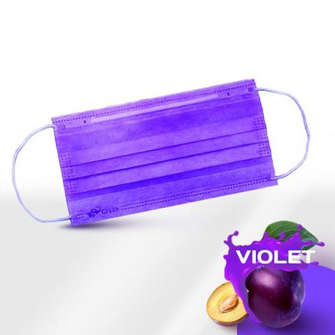 Маски одноразовые медицинские трехслойные с фиксатором фиолетовые, п/э упак, 50 шт/уп