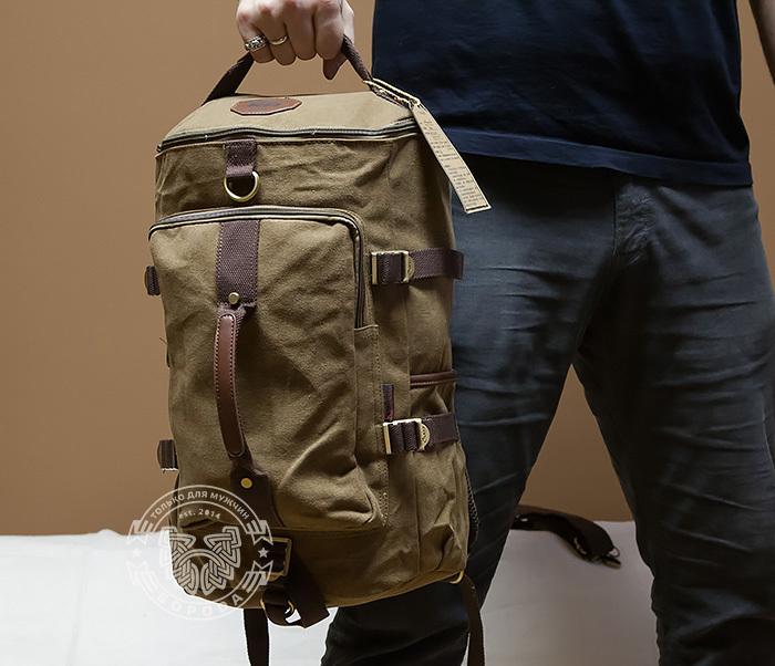 BAG368-2 Вместительная мужская тканевая сумка - рюкзак с ремнем на плечо фото 05