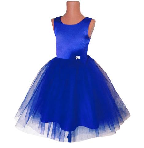 Пышное синее платье