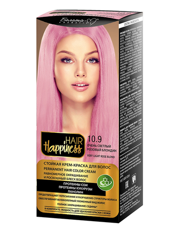 Белита-М Hair Happiness Крем-краска для волос аммиачная №10.9 светлый розовый блондин