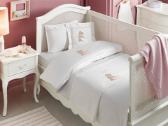 НАБОР ЯСЛИ Детское  постельное белье с пледом POURTOL BEBE розовый deluxe TIVOLYO HOME Турция