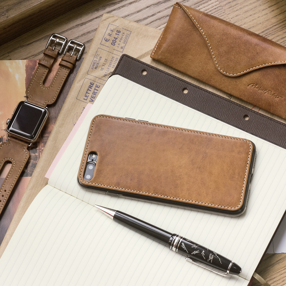 Чехол-накладка для iPhone 8 Plus из натуральной кожи теленка,  цвета винтаж