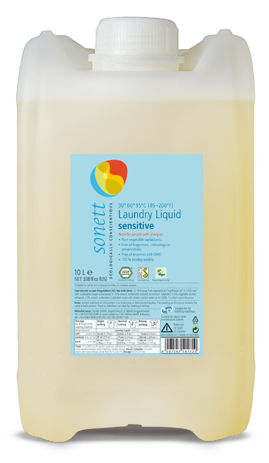 Жидкость для стирки гипоаллергенная Sensitive Sonett, 10 л