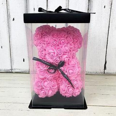 Мишка из 3d роз с лентой в подарочной упаковке 20см