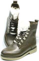 Женские зимние ботинки на шнурках Studio27 576c Broun.