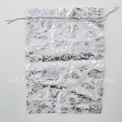 """Подарочный мешочек из органзы """"Серебряные розы"""", цвет - белый, 23х17 см"""