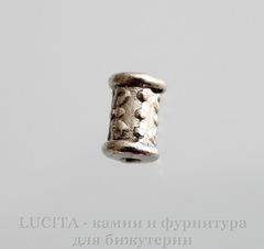 Бусина металлическая - трубочка с узорами 6х4 мм (цвет - античное серебро), 10 штук