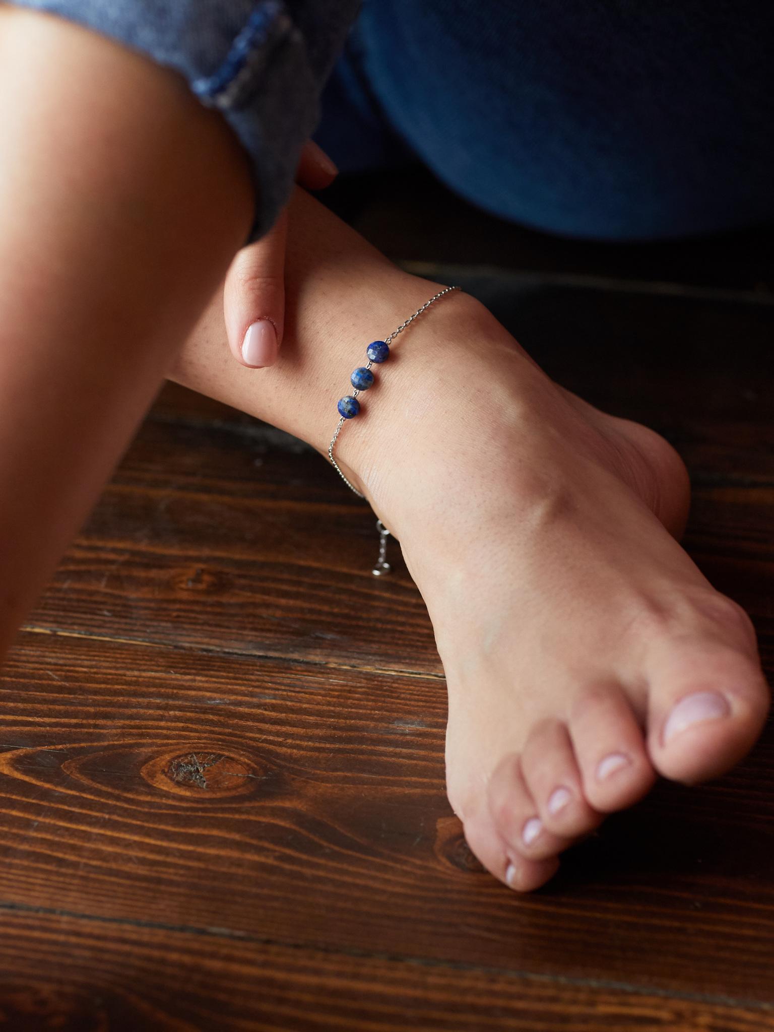 Браслет на ногу с лазуритом