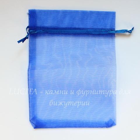 Подарочный мешочек из органзы, цвет - синий, 18х13 см