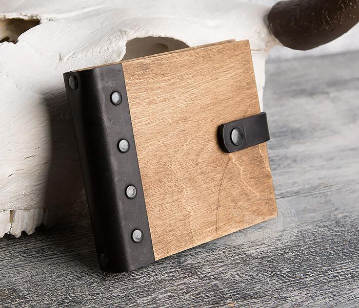 BC127-2 Деревянный блокнот ручной работы с крафт бумагой фото 02