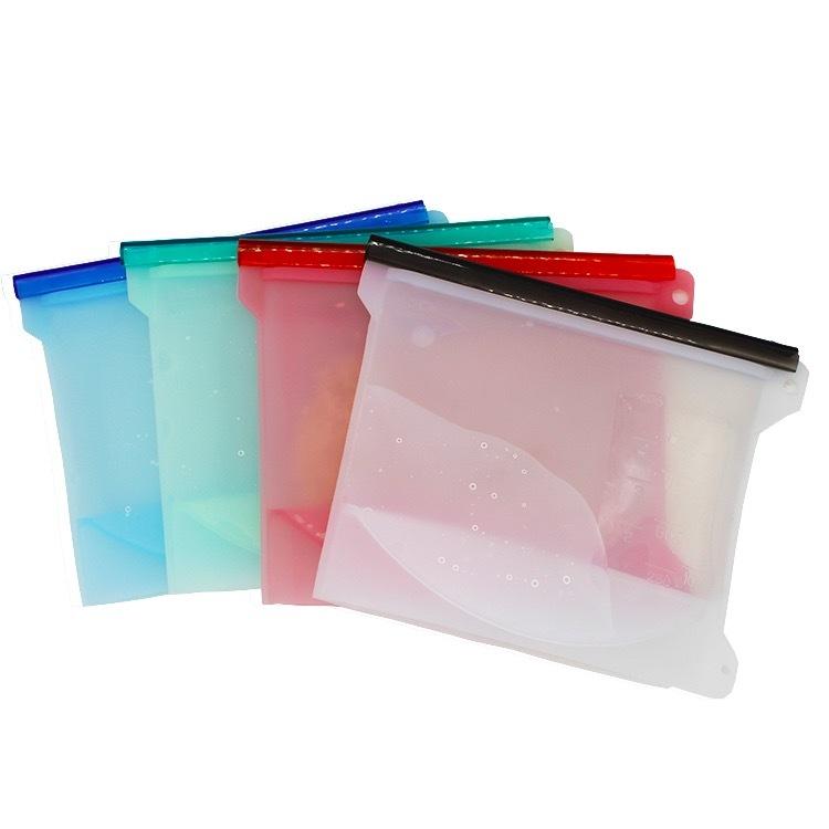 Пакет-контейнер силиконовый с застежкой 1000 мл. розовый