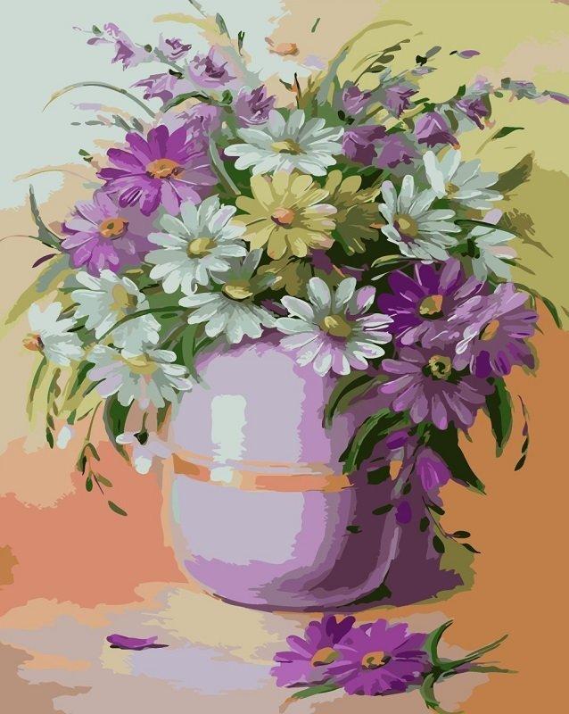 Картина раскраска по номерам 40x50 Цветы в фиолетовой вазе ...