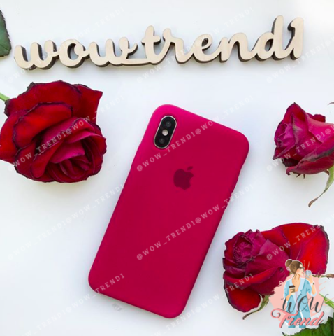 Чехол iPhone XS Max Silicone Case /rose red/ малиновый 1:1