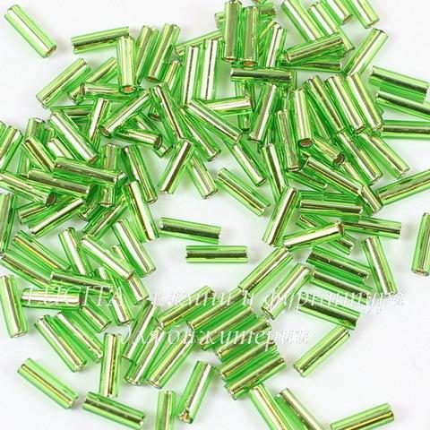 0027 Бисер японский TOHO Стеклярус (Bugle) #2, перидот с внутренним серебрением