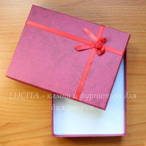 Подарочная коробочка с бантиком (цвет - красный), 155х120х30 мм