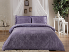 Постельное белье PRINCESS лиловый  жаккард с кружевом deluxe TIVOLYO HOME Турция