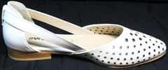Кожаные белые балетки с открытыми бортами Evromoda 286.85 Summer White.