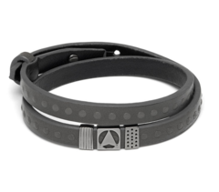 Кожаный браслет Northskull Nyoju Bracelet in Grey and Gunmetal