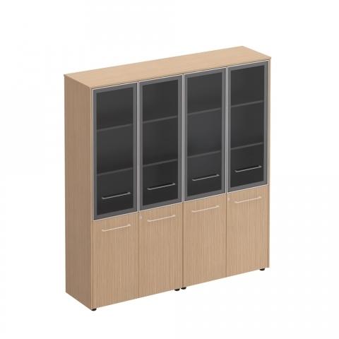 Шкаф для документов со стеклянными дверьми (стенка из 2 шкафов) (184x46x196)