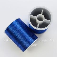Нить металлизированная для вышивки бисером, 0,1 мм, цвет - синий, примерно 55 м