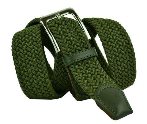 Мужской текстильный эластичный зелёный хаки ремень резинка 40 мм для джинсов 40Rezinka-108