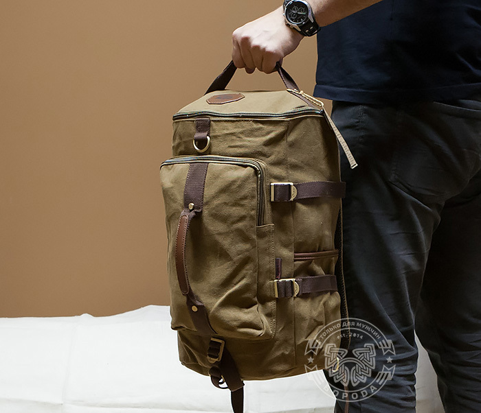 BAG368-2 Вместительная мужская тканевая сумка - рюкзак с ремнем на плечо фото 06