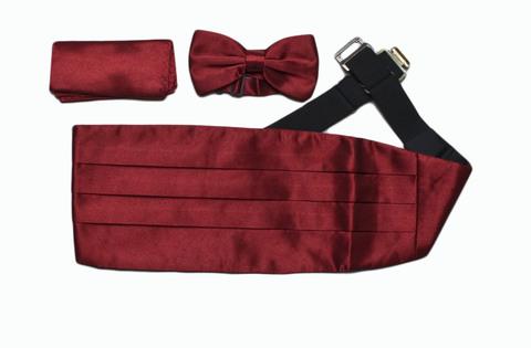 Камербанд (кушак, пояс) Max Cavalera для смокинга+бабочка+платок бордовый
