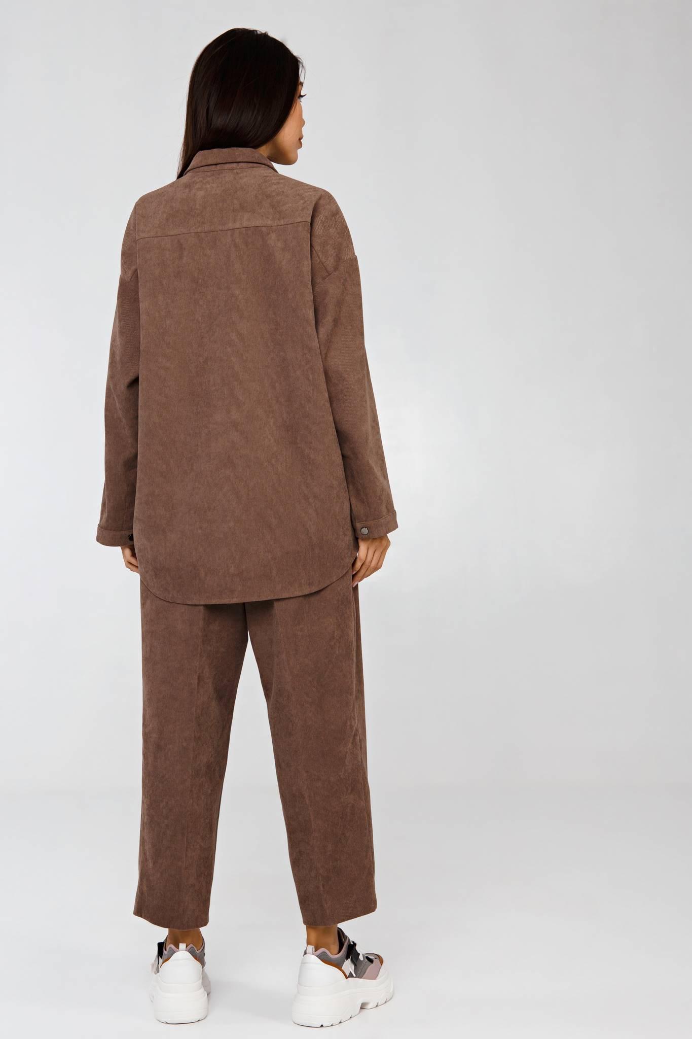 Вельветовый костюм в рубчик пепельный беж YOS