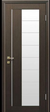 Дверь Визаж Смарт, стекло белое, цвет венге, остекленная