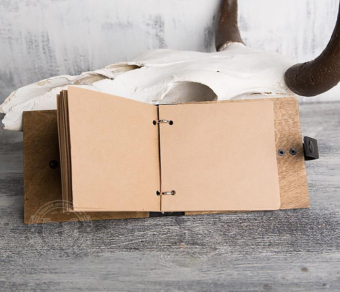 BC127-2 Деревянный блокнот ручной работы с крафт бумагой фото 05