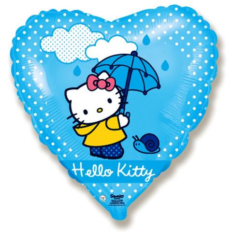 Шар Сердце Котенок с зонтиком.