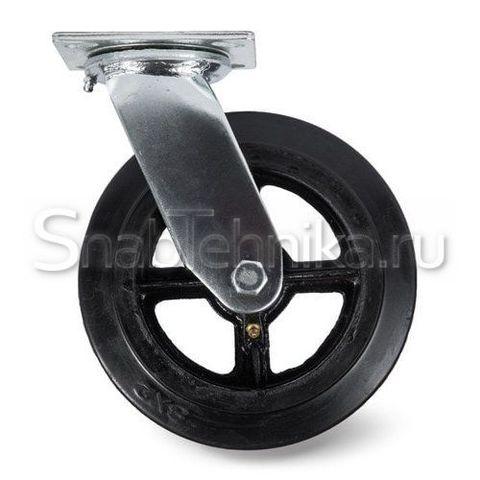 Большегрузная поворотная колесная опора SCd 200, литая черная резина