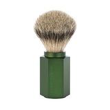 Помазок MUEHLE HEXAGON, барсучий ворс высшей категории Silvertip, анодированный алюминий, зеленый (091 M HXG FOREST)
