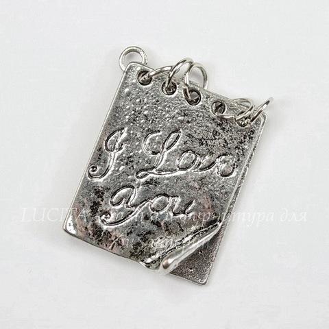 "Подвеска ""Блокнотик"" (цвет - античное серебро) 28х20 мм"