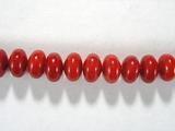 Бусина из коралла красного, облагороженного, фигурная, 5x7 мм (рондель, гладкая)