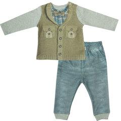 Папитто. Комплект кофточка и штанишки для мальчика с жилетом и бабочкой FASHION JEANS