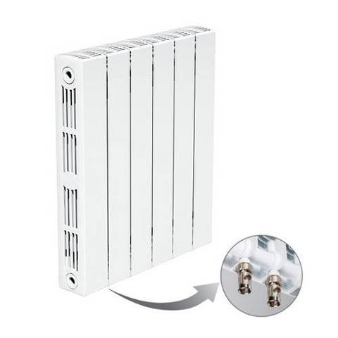 Радиатор биметаллический секционный Rifar SUPReMO Ventil 350 - 13 секций (подключение нижнее левое)