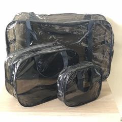 Тонированная прозрачная сумка в роддом с 2 косметичками, черная, вид 3
