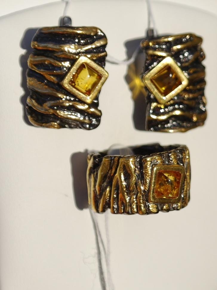 Друя (кольцо + серьги из серебра)