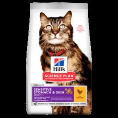 Корм для кошек с чувствительным пищеварением и кожей Hill`s Science Plan Adult Sensitive Stomach & Skin, с курицей