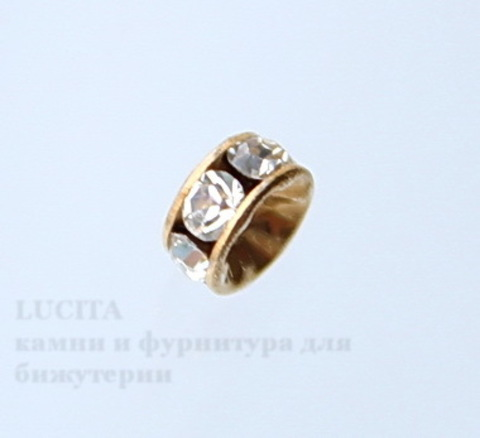 77504 Бусина - рондель Сваровски Crystal (цвет - античное золото) 4х2 мм