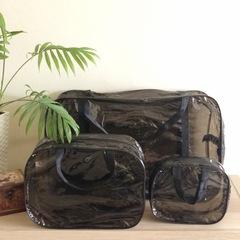 Тонированная прозрачная сумка в роддом с 2 косметичками, черная, вид 2