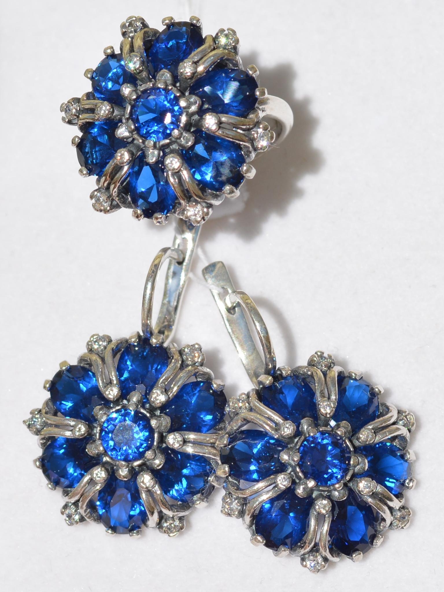 Хризантема(кольцо + серьги из серебра)