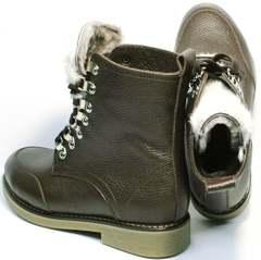 Женские зимние ботинки на шнурках с мехом Studio27 576c Broun.