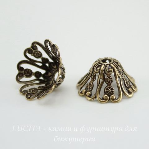 Винтажный декоративный элемент - шапочка 16х8 мм (оксид латуни) ()